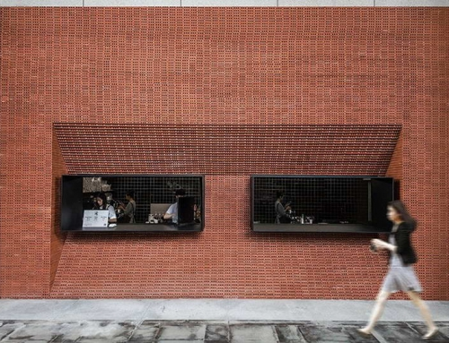 A SPLASH OF BRICK RED COLOR IN ZHUJIANG NEW TOWN